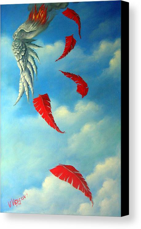 Surreal Canvas Print featuring the painting Bird On Fire by Valerie Vescovi