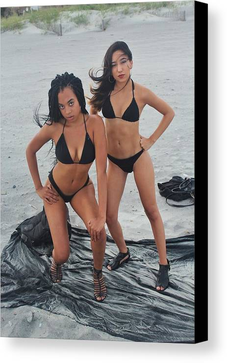 Ebony Canvas Print featuring the photograph Black Bkinis 3 by Christopher White