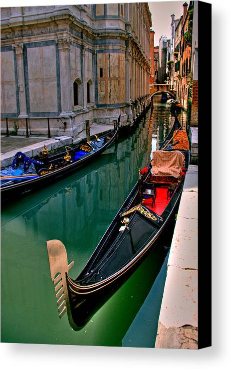 Italy Canvas Print featuring the photograph Black Gondola by Peter Tellone
