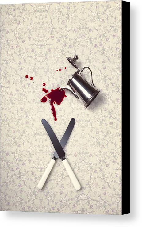 Knife Canvas Print featuring the photograph Bloody Dining Table by Joana Kruse