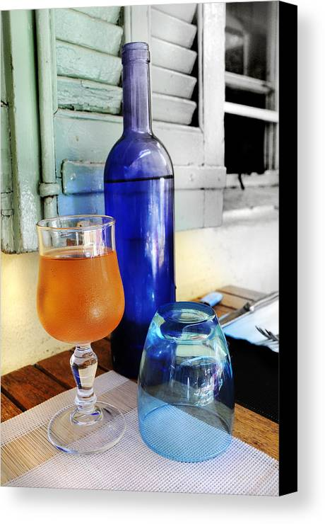 Blue Canvas Print featuring the photograph Blue Bottle by Martine Affre Eisenlohr
