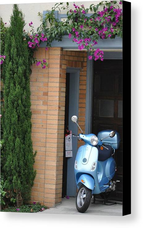 Scooter Canvas Print featuring the photograph Blue Scooter by Vijay Sharon Govender