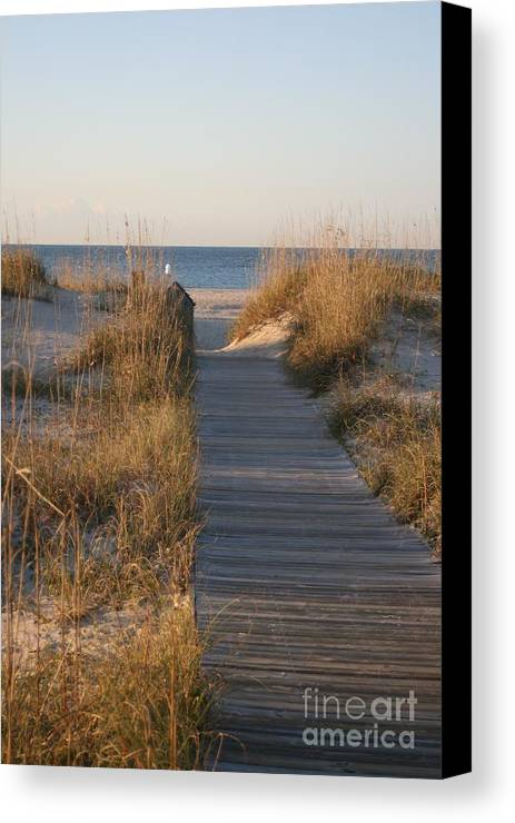 Boardwalk Canvas Print featuring the photograph Boardwalk To The Beach by Nadine Rippelmeyer