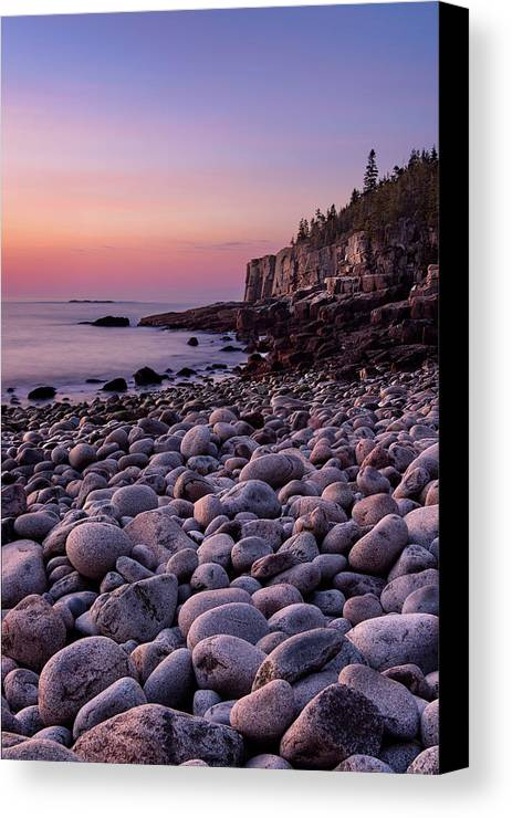 Acadia Canvas Print featuring the photograph Boulders At Dawn - Vertical by Michael Blanchette