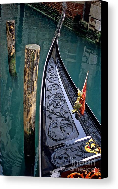 Italy Canvas Print featuring the photograph Bow Of Gondola In Venice by Michael Henderson