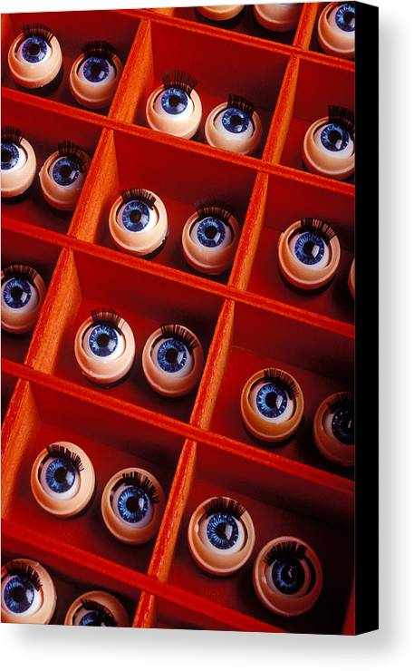 Box Canvas Print featuring the photograph Box Full Of Doll Eyes by Garry Gay
