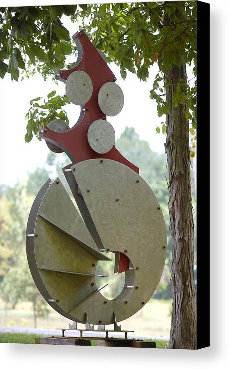 Metal Canvas Print featuring the sculpture Breaking Out by Mac Worthington