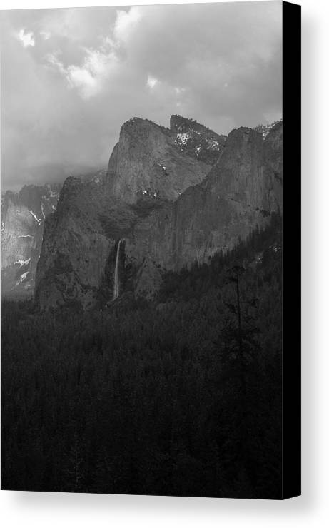 Landscape Canvas Print featuring the photograph Bridalveil In Black And White by Richard Verkuyl