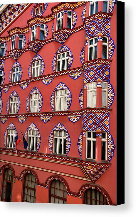 Cooperative Business Bank Canvas Print featuring the photograph Brightly Colored Cooperative Business Bank Building Or Vurnik Ho by Reimar Gaertner