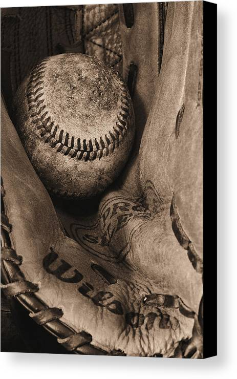 Baseball Canvas Print featuring the photograph Broken In Bw by JC Findley