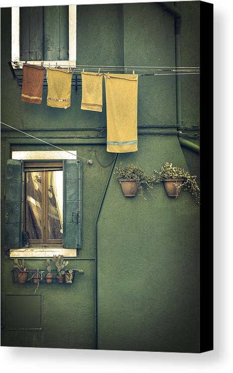 Green Canvas Print featuring the photograph Burano - Green House by Joana Kruse