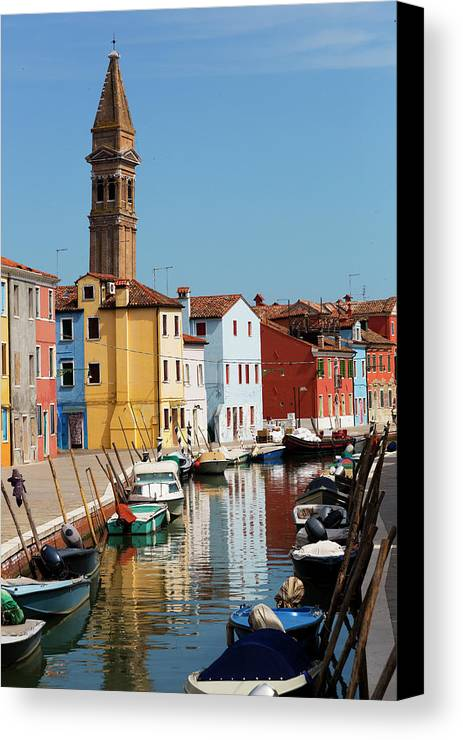 Burano Canvas Print featuring the photograph Burano An Island Of Multi Colored Homes On Canals North Of Venice Italy by Bruce Beck