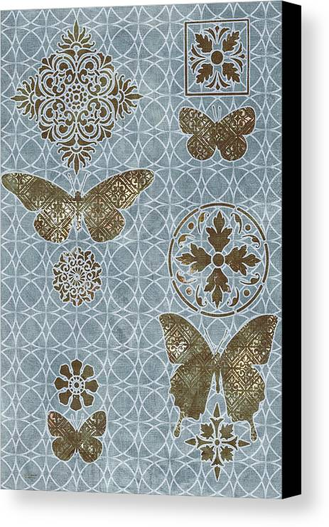 Flowers Canvas Print featuring the painting Butterfly Deco 1 by JQ Licensing