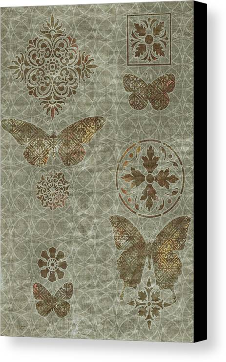 Flowers Canvas Print featuring the painting Butterfly Deco 2 by JQ Licensing