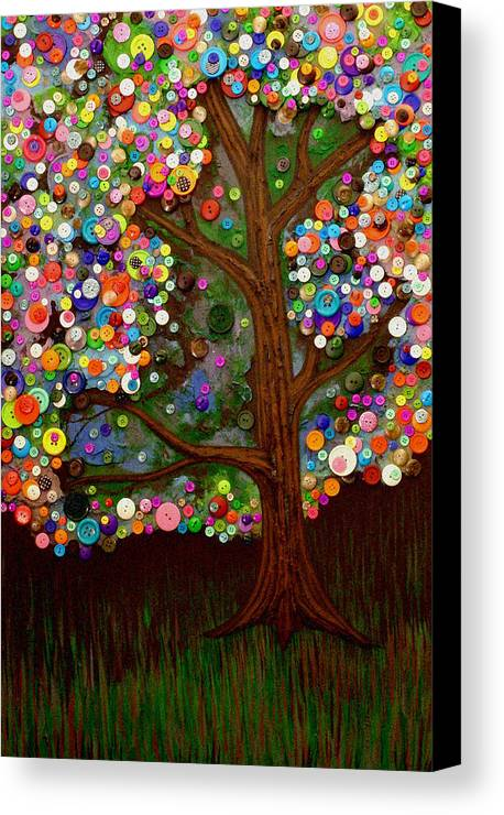 Button Canvas Print featuring the painting Button Tree 0007 by Monica Furlow