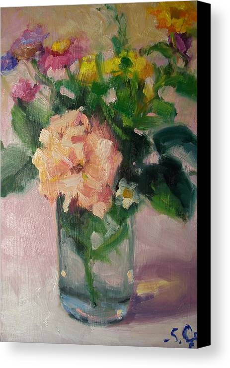 Painting Canvas Print featuring the painting Cambria Flowers by Susan Jenkins
