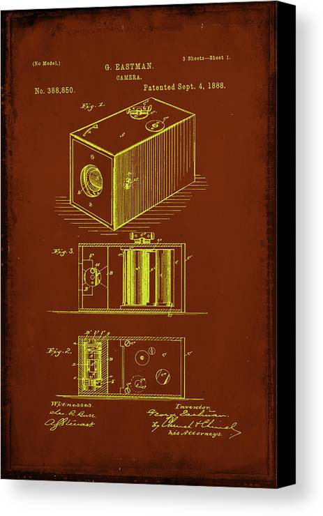 Patent Canvas Print featuring the mixed media Camera Patent Drawing 1a by Brian Reaves
