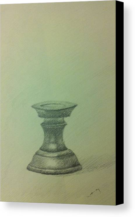 Pencil Canvas Print featuring the ceramic art Candle Stand Study by Krishnamurthy S