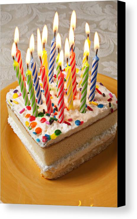 Flame Canvas Print featuring the photograph Candles On Birthday Cake by Garry Gay