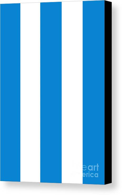 Blue Canvas Print featuring the digital art Cannes Stripes, Blue by Elegant and Coastal