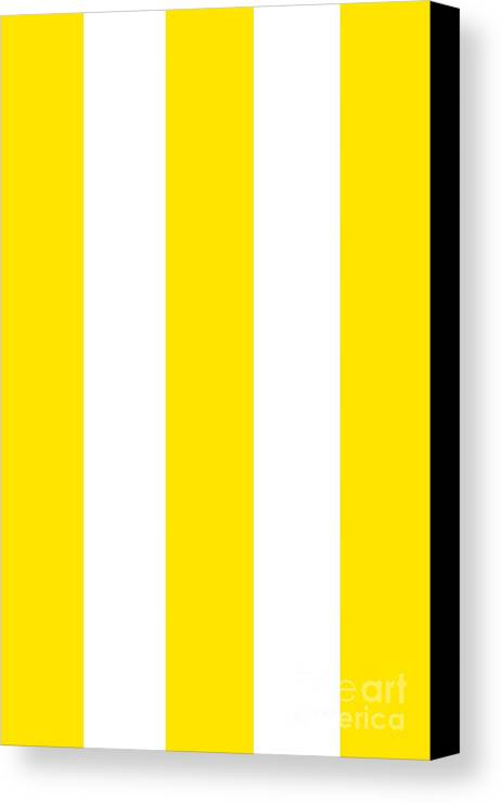 Yellow Canvas Print featuring the digital art Cannes Stripes, Yellow by Elegant and Coastal
