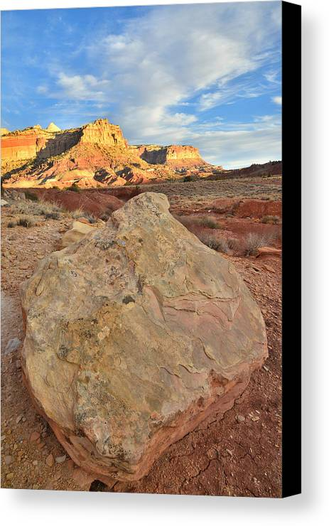 Capitol Reef National Park Canvas Print featuring the photograph Capitol Reef Sunset Boulder by Ray Mathis