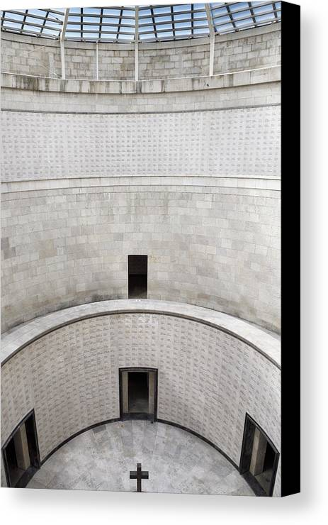 Central Canvas Print featuring the photograph Central Tower With Skylight Cross And Names Of The Interred At T by Reimar Gaertner