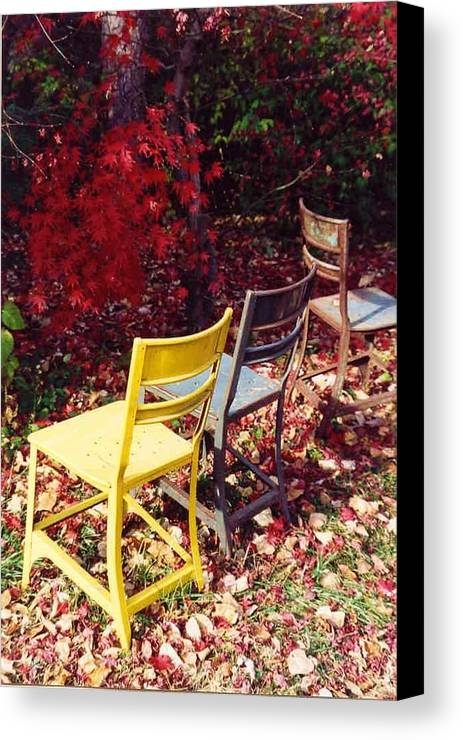 Fall Landscape Canvas Print featuring the photograph Chairs by Evelynn Eighmey