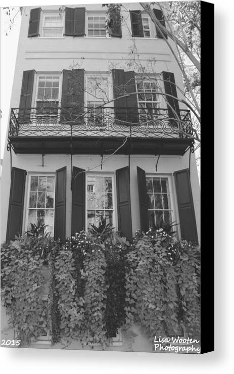 Charleston Style Home Black And White Canvas Print featuring the photograph Charleston Style Home Black And White by Lisa Wooten