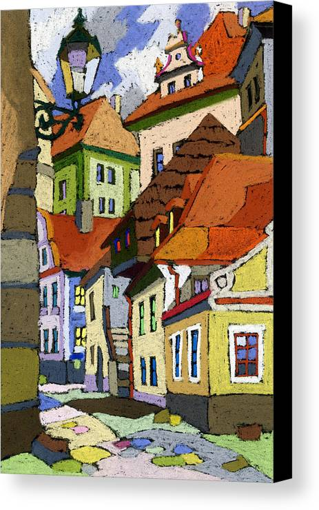 Pastel Canvas Print featuring the painting Chesky Krumlov Masna Street 1 by Yuriy Shevchuk