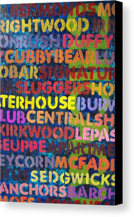 Bars Canvas Print featuring the painting Chicago Bars by Julie Ringer