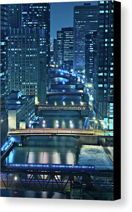 Chicago Canvas Print featuring the photograph Chicago Bridges by Steve Gadomski