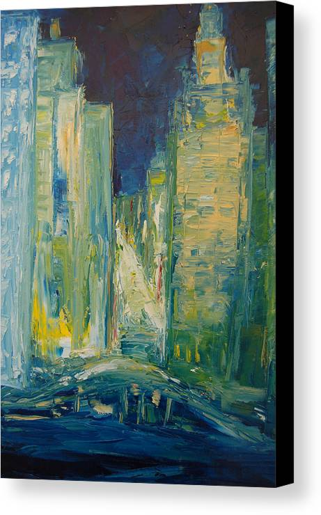 Konkol Canvas Print featuring the painting Chicago Lights by Lisa Konkol