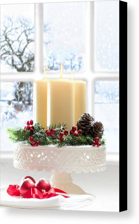 Christmas Canvas Print featuring the photograph Christmas Candles Display by Amanda Elwell