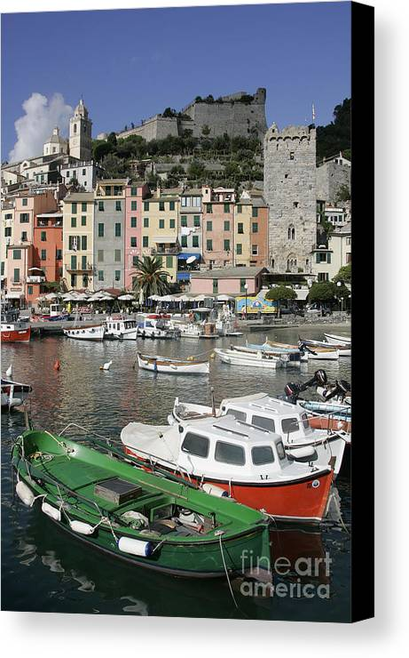 Italy Canvas Print featuring the photograph Cinqueterre Boats by Stan and Anne Foster