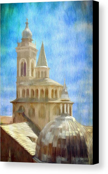 Above Canvas Print featuring the painting Citta Alta From Above by Jeffrey Kolker
