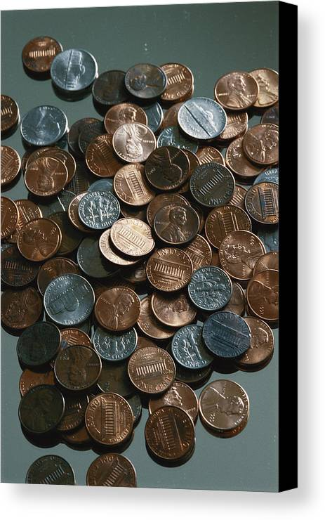 american Coins Canvas Print featuring the photograph Close View Of United States Coins by Vlad Kharitonov