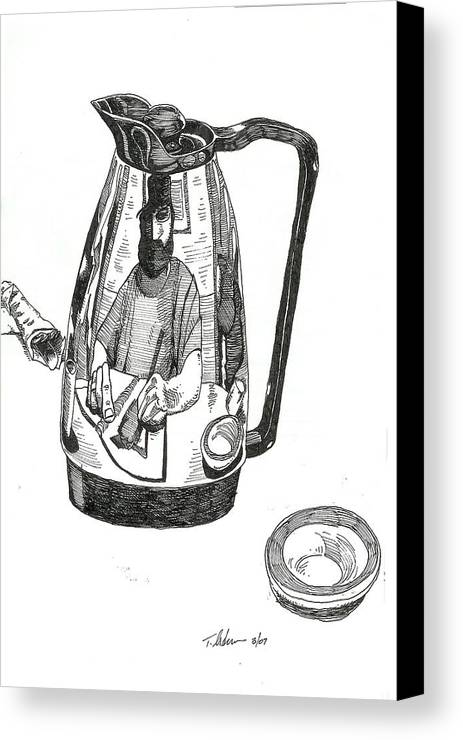 Pen And Ink Canvas Print featuring the drawing Coffee Pot by Tobey Anderson