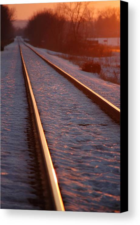 Railroda Canvas Print featuring the photograph Cold Line Sunset by Jame Hayes