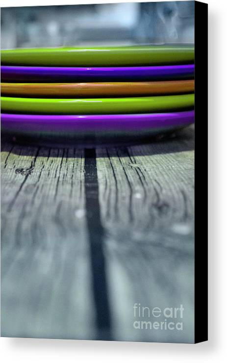 Plate Canvas Print featuring the photograph Colored Plates 4 by Irina Effa