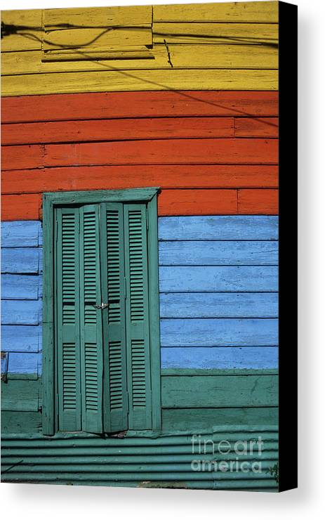 Buenos Aires Canvas Print featuring the photograph Colourful Shutters La Boca Buenos Aires by James Brunker