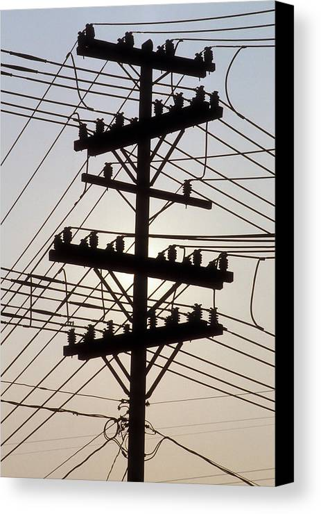 Telephone; Wire; Wires; Pole; Telephone Pole; Old Technology; Dated; Telecommunication; Connection; Connections; Connectedness; Information; Overload; Internet Canvas Print featuring the photograph Connection Overload by Gerard Fritz