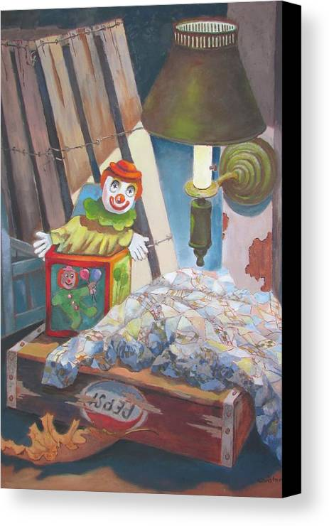 Colorful Canvas Print featuring the painting Corner Of The Attic by Tony Caviston