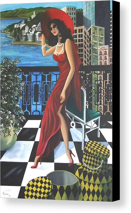 Art Deco Canvas Print featuring the painting Courtenay by Rosie Harper