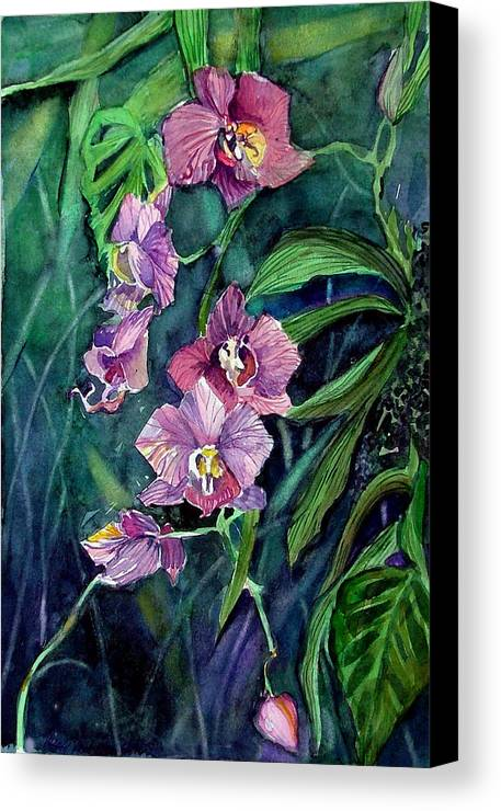 Orchid Canvas Print featuring the painting Dark Orchid by Mindy Newman