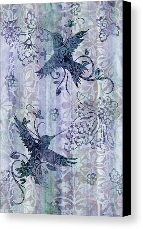 Hummingbird Canvas Print featuring the painting Deco Hummingbird Blue by JQ Licensing
