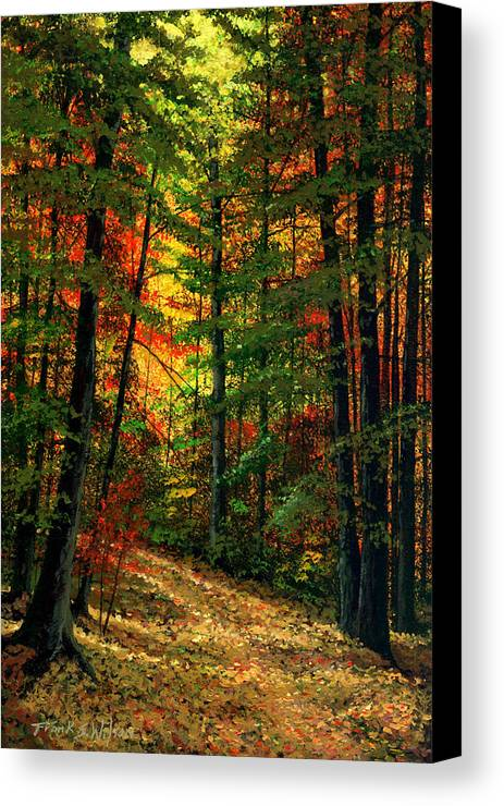 Landscape Canvas Print featuring the painting Deep In The Forest by Frank Wilson