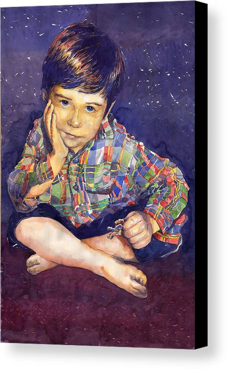 Watercolor Watercolour Portret Figurativ Realism People Commissioned Canvas Print featuring the painting Denis 01 by Yuriy Shevchuk