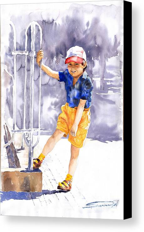 Watercolor Watercolour Figurativ Portret Canvas Print featuring the painting Denis 02 by Yuriy Shevchuk