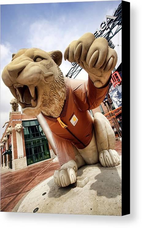 Detroit Canvas Print featuring the photograph Detroit Tigers Tiger Statue Outside Of Comerica Park Detroit Michigan by Gordon Dean II